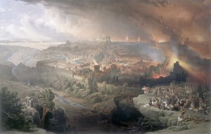The destruction of Jerusalem by the Romans in 70AD -- a painting by David Roberts (1796-1849).
